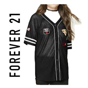 Forever 21 black blouse jersey see through